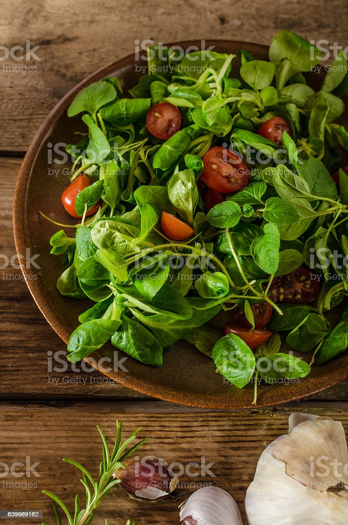 Fresh lettuce lamb salad stock photo