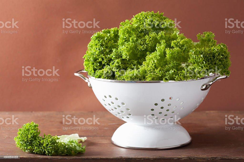 fresh lettuce leaves in colander stock photo