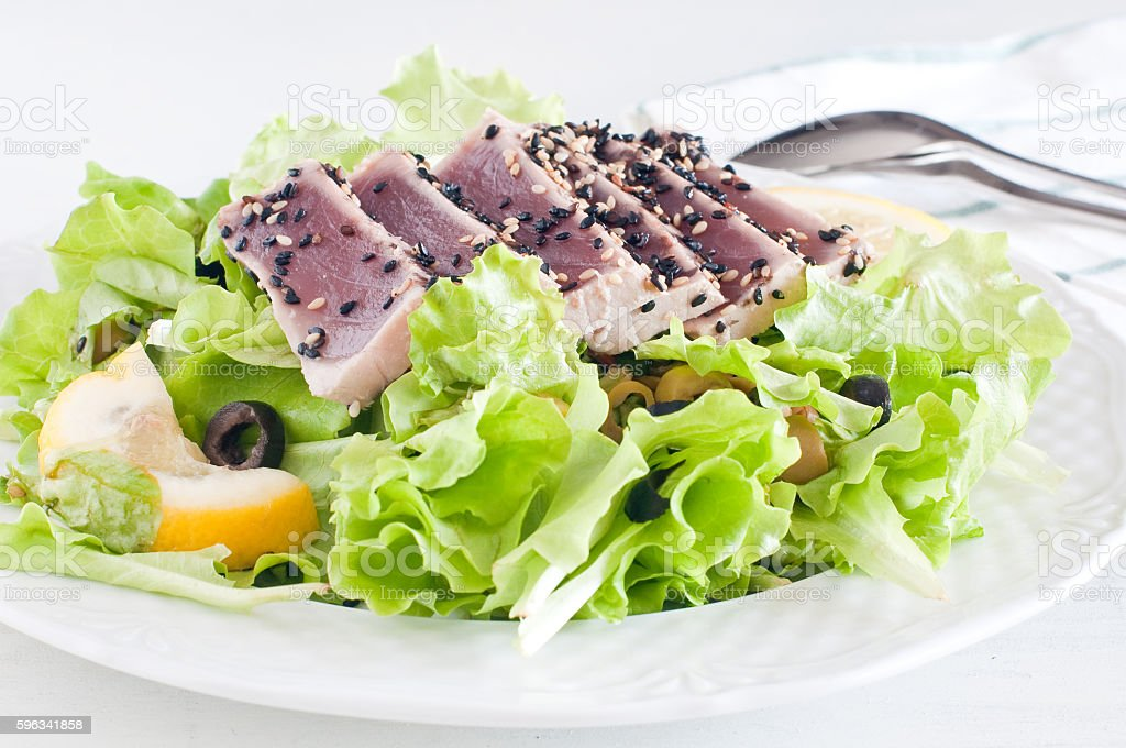 fresh lettuce salad with pan-seared red tuna royalty-free stock photo