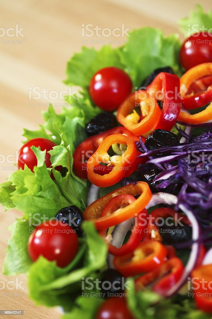 Fresh Lettuce Tomato Pepper Olive Red Onion and Cabbage Salad royalty-free stock photo