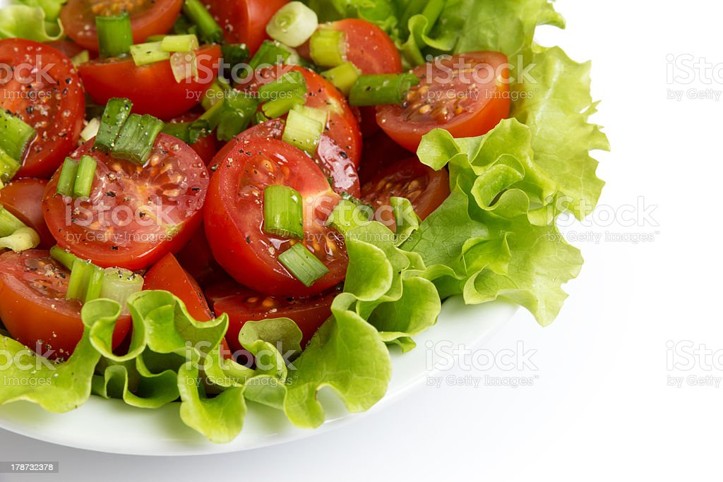 fresh light salad with cherry tomatoes and chives royalty-free stock photo