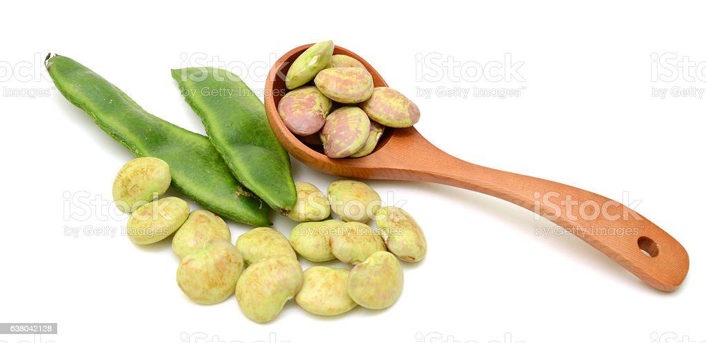 fresh lima beans isolated on white background stock photo