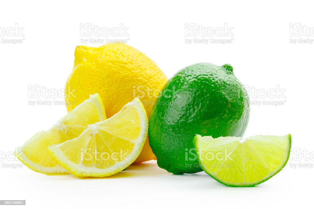 Fresh lime and lemon isolated on white background zbiór zdjęć royalty-free