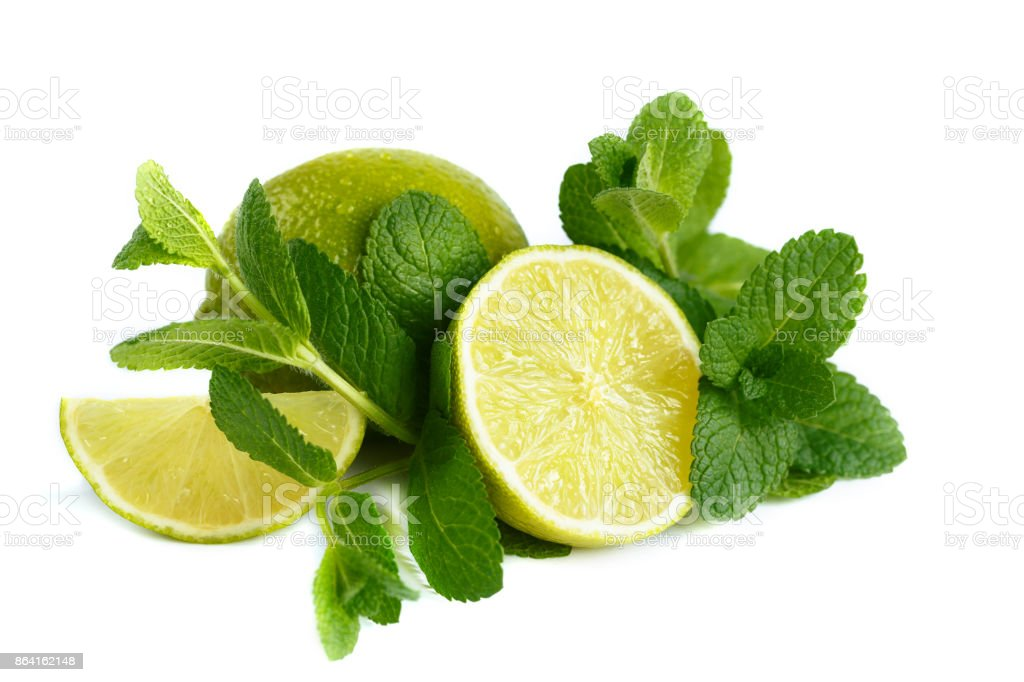 Fresh lime and mint. Isolated on white background royalty-free stock photo