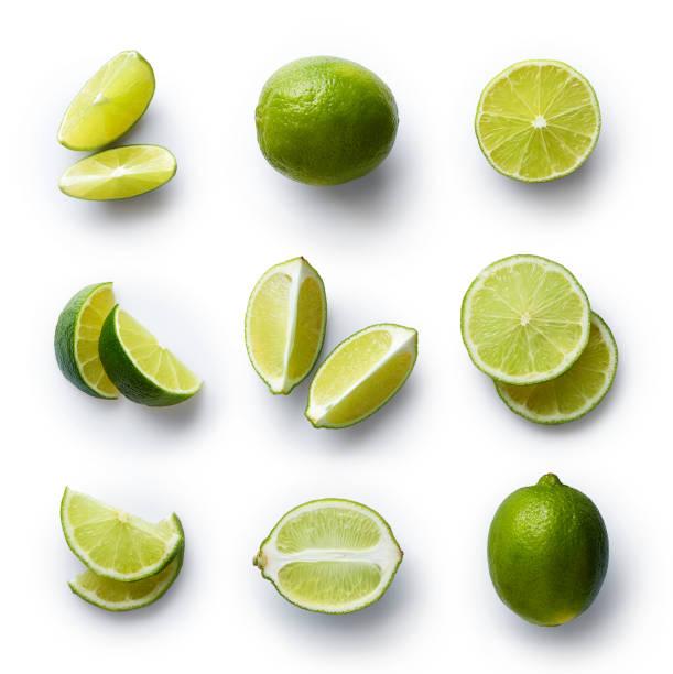 Fresh lime isolated on white background stock photo