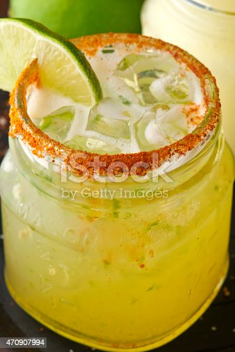 Delicious Fresh Lime Margarita on the rocks.