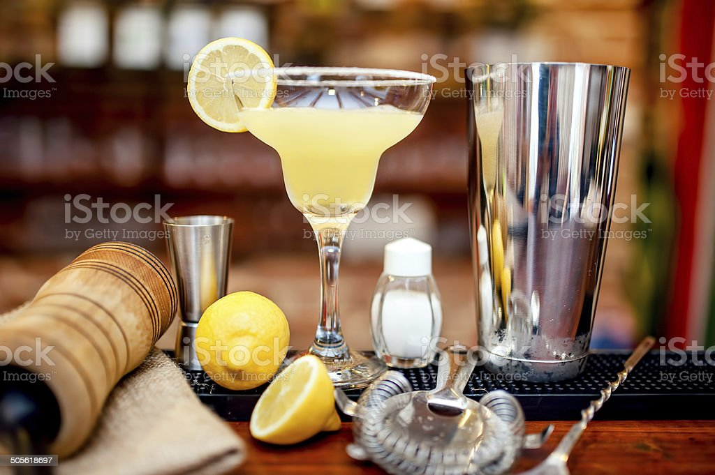 fresh lime margarita served in bar and casino stock photo