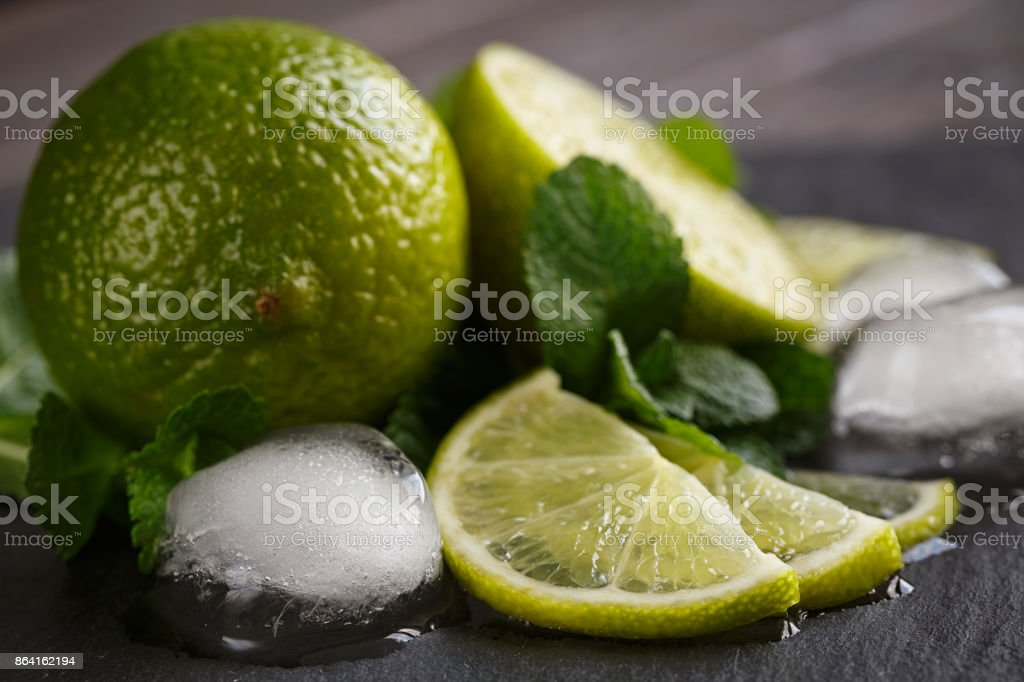 Fresh lime, mint and ice cubes. royalty-free stock photo