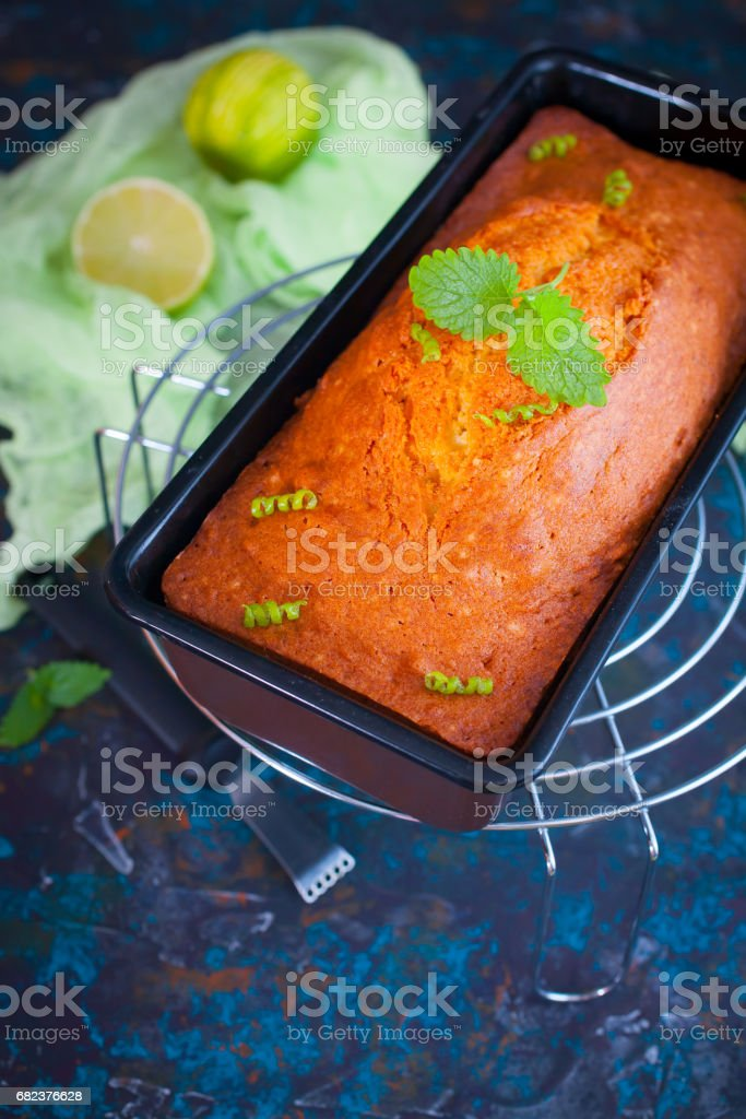 Fresh lime pound cake on rack royalty-free stock photo