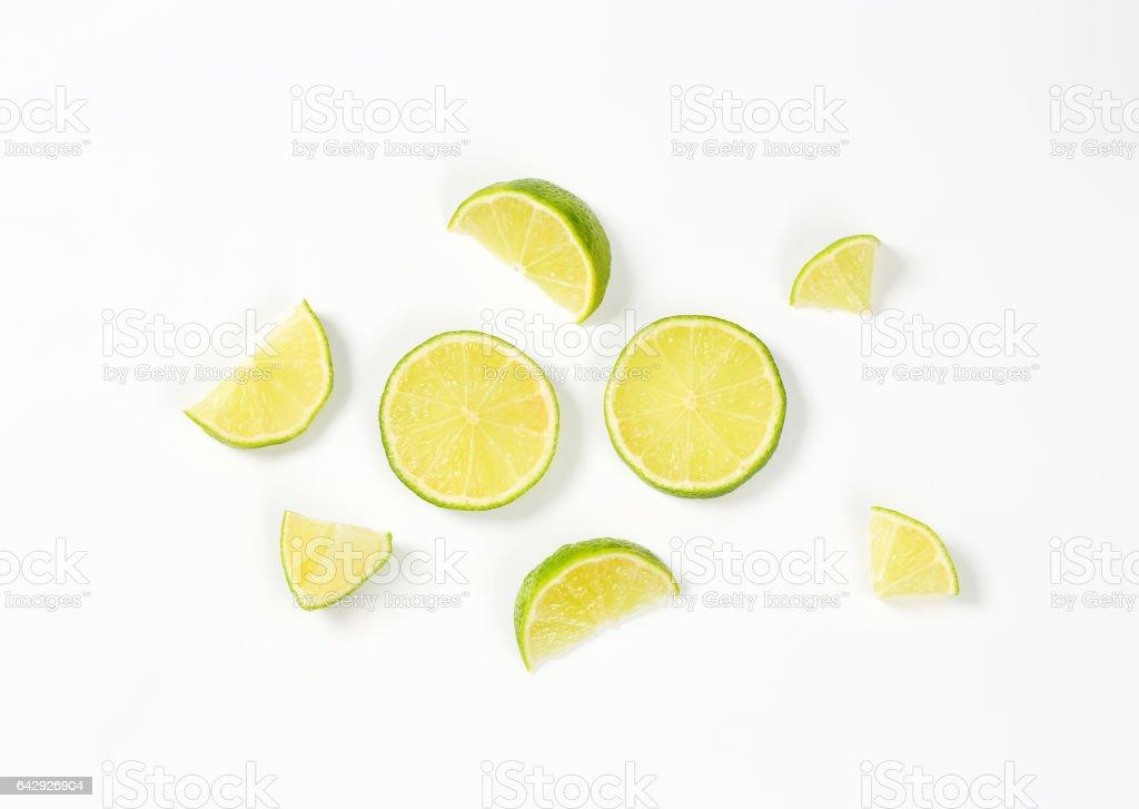 fresh lime slices stock photo