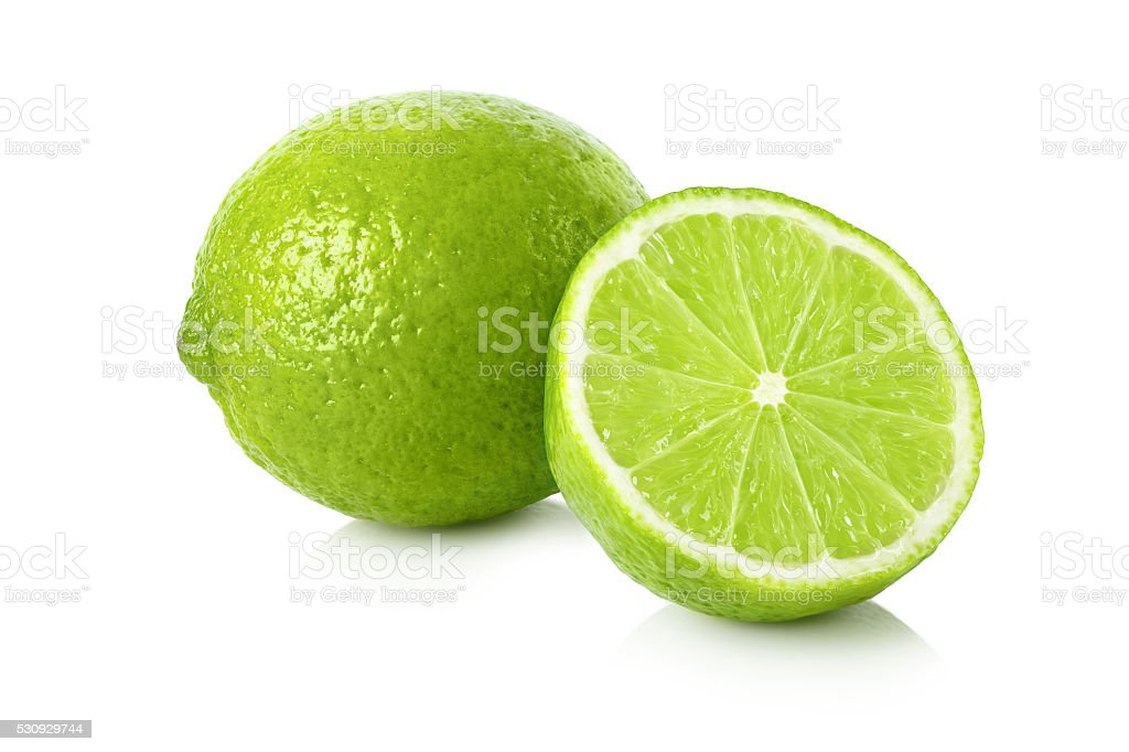 Fresh lime with a half stock photo