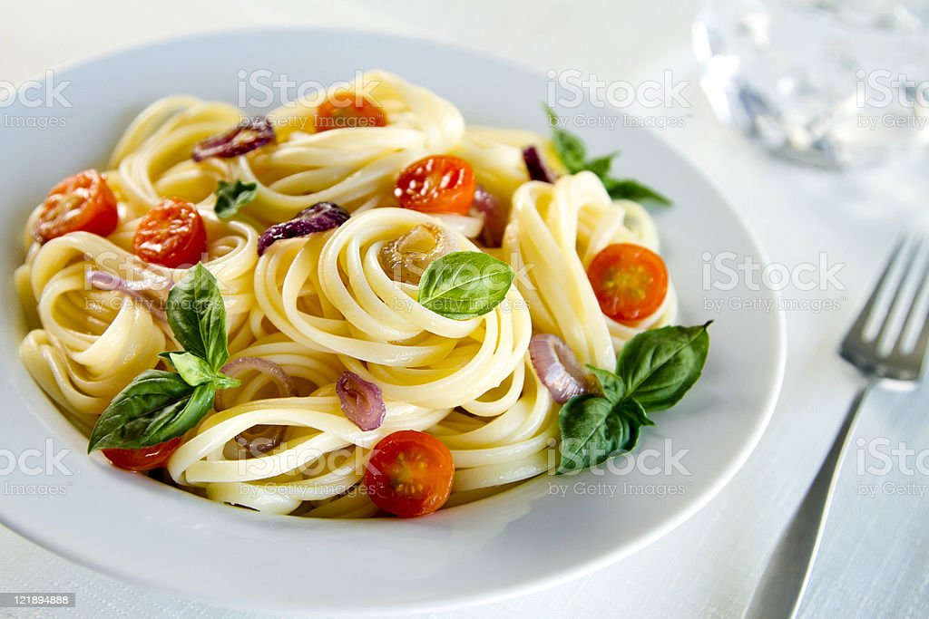 Fresh Linguine Pasta Meal royalty-free stock photo
