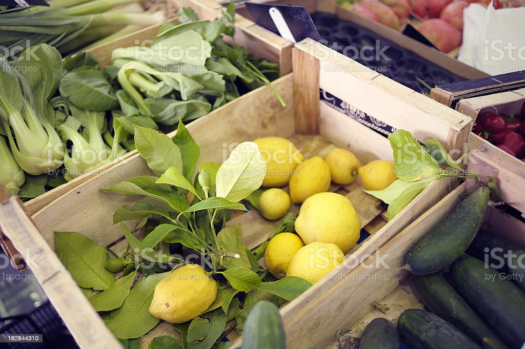 Fresh, Local Market Produce in Antibes, France stock photo
