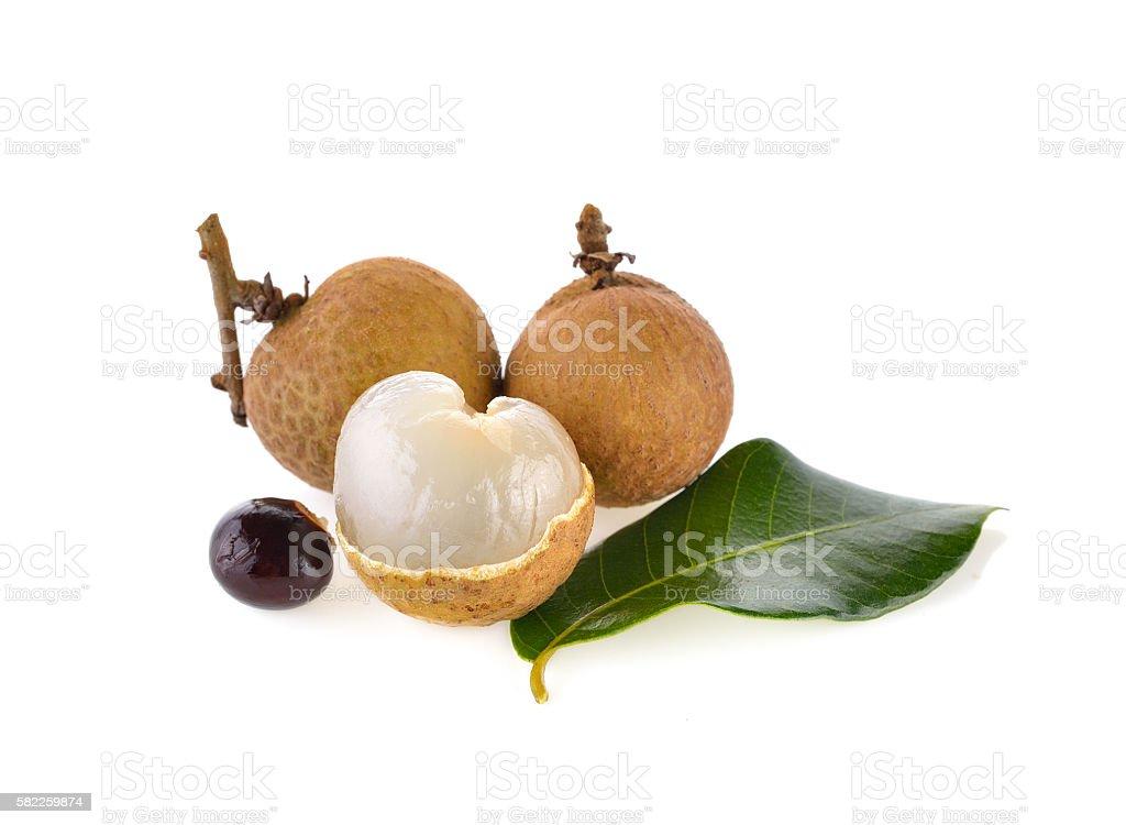 fresh longan on white background stock photo