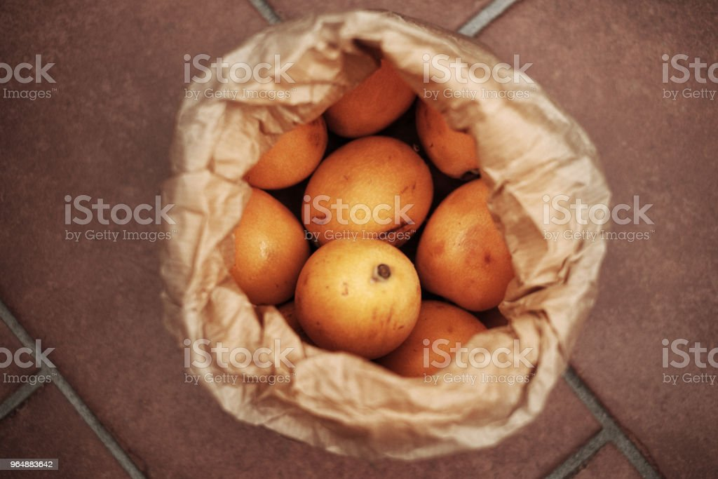 Fresh loquats in a paper bag royalty-free stock photo