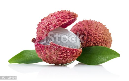 Fresh lychee fruits isolated on white.