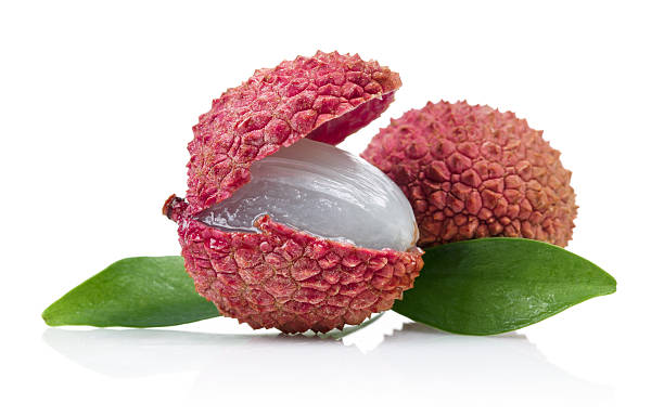 Fresh lychee fruits stock photo