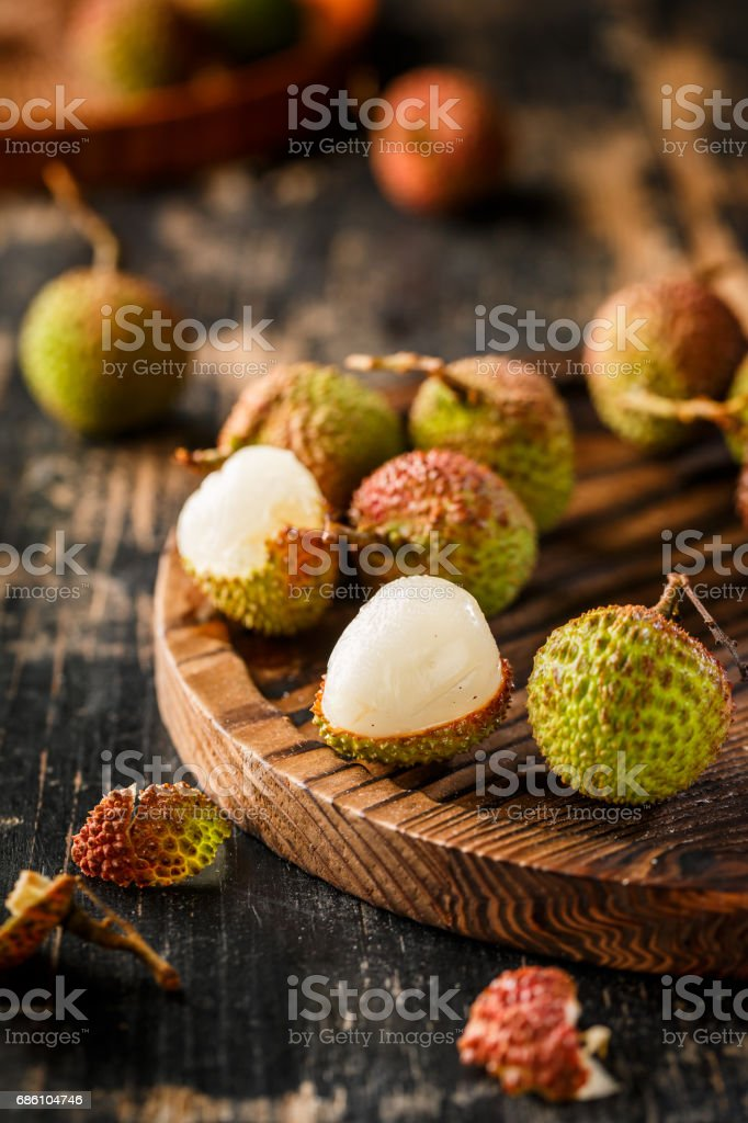 Fresh lychee fruits stock photo