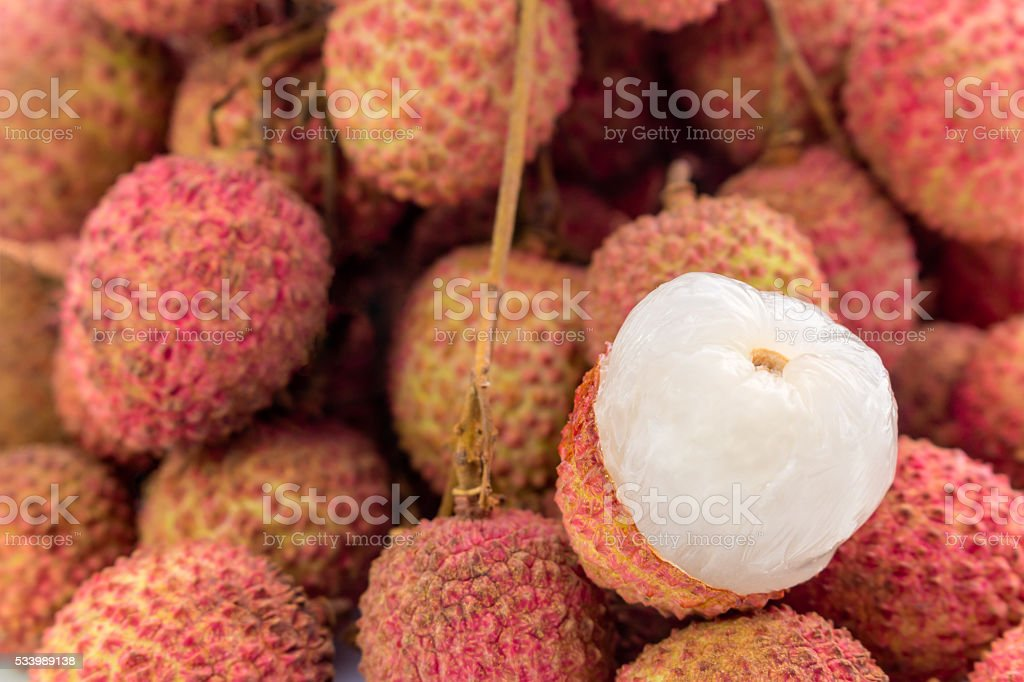 Fresh lychees fruit with isolate white background stock photo