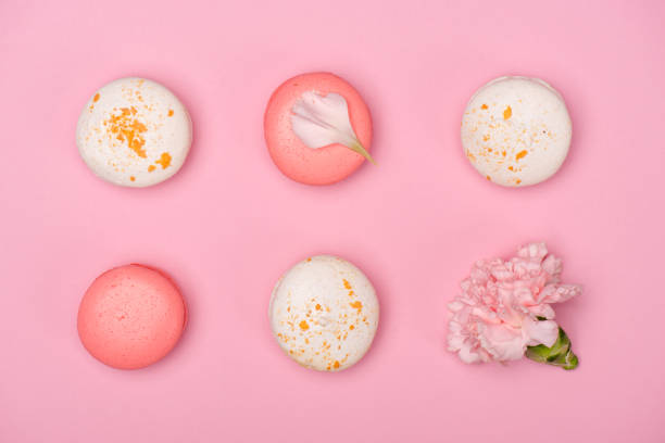 fresh macarons and carnation flower on pink surface - food styling stock photos and pictures