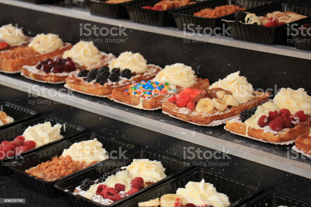 Fresh made Belgium waffles stock photo