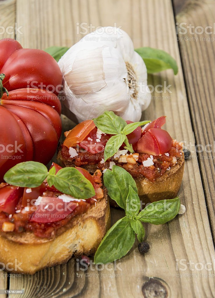 Fresh made Bruschetta with ingredients royalty-free stock photo