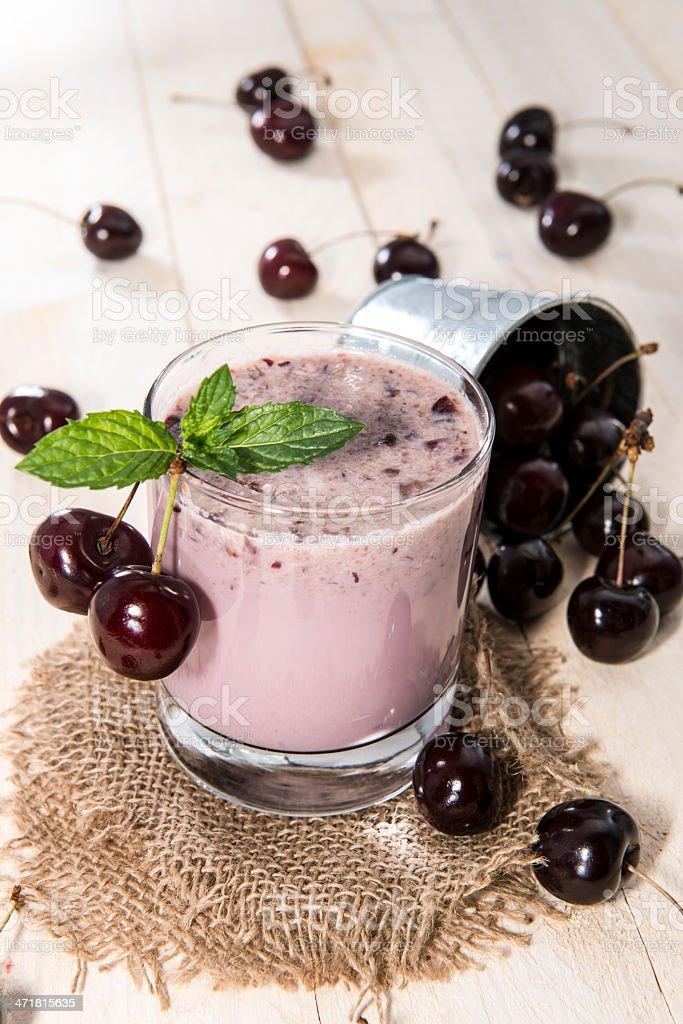 Fresh made Cherry Smoothie royalty-free stock photo