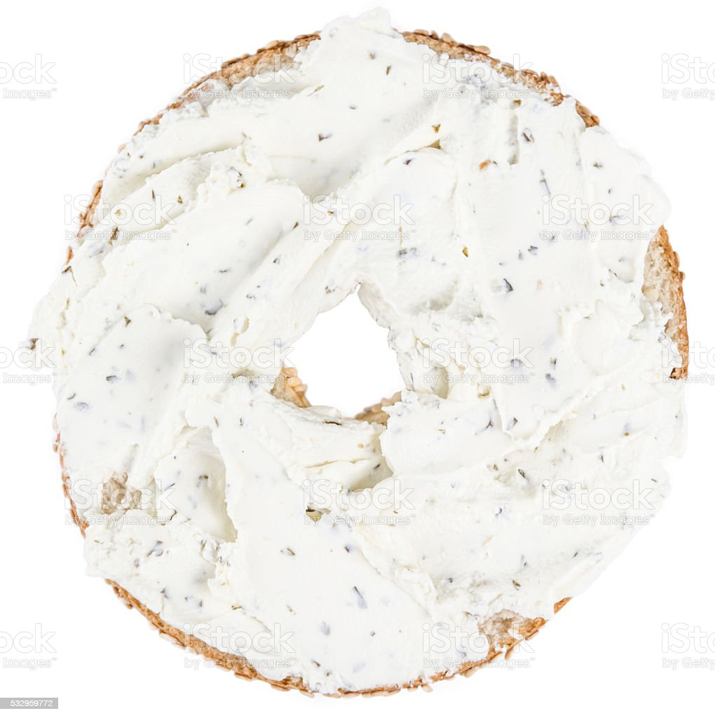 Fresh made cream cheese Bagel (isolated on white) stock photo