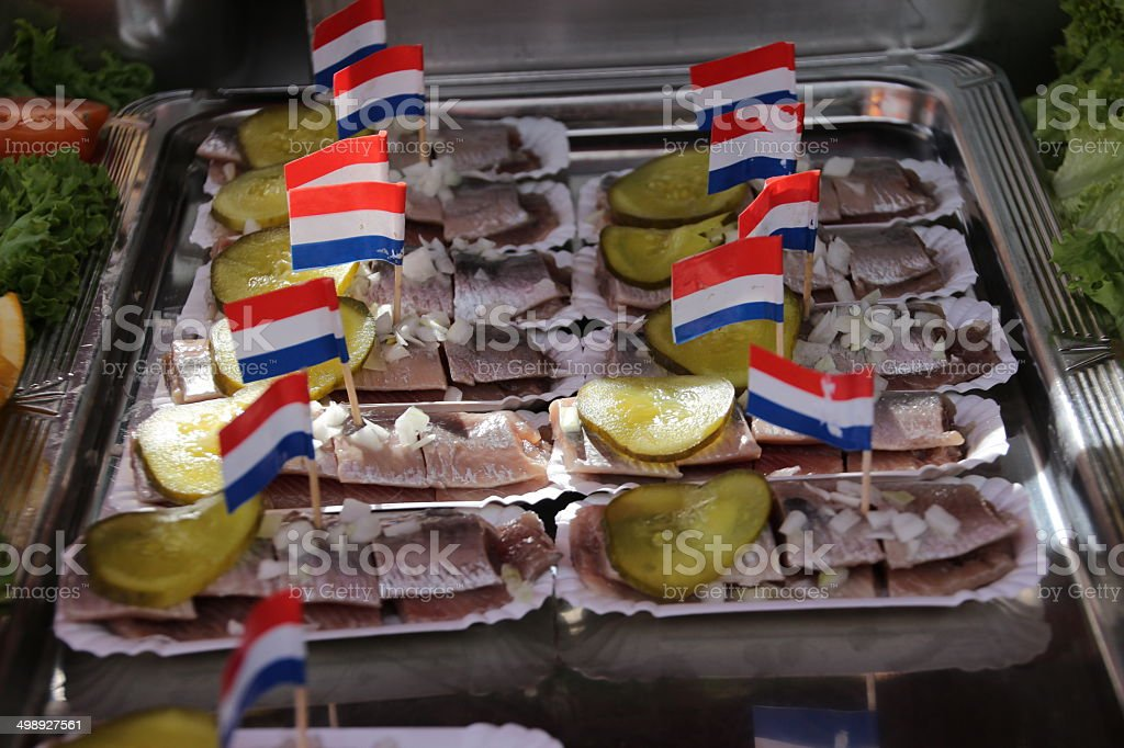Fresh made herring with union and sour pickle. royalty-free stock photo