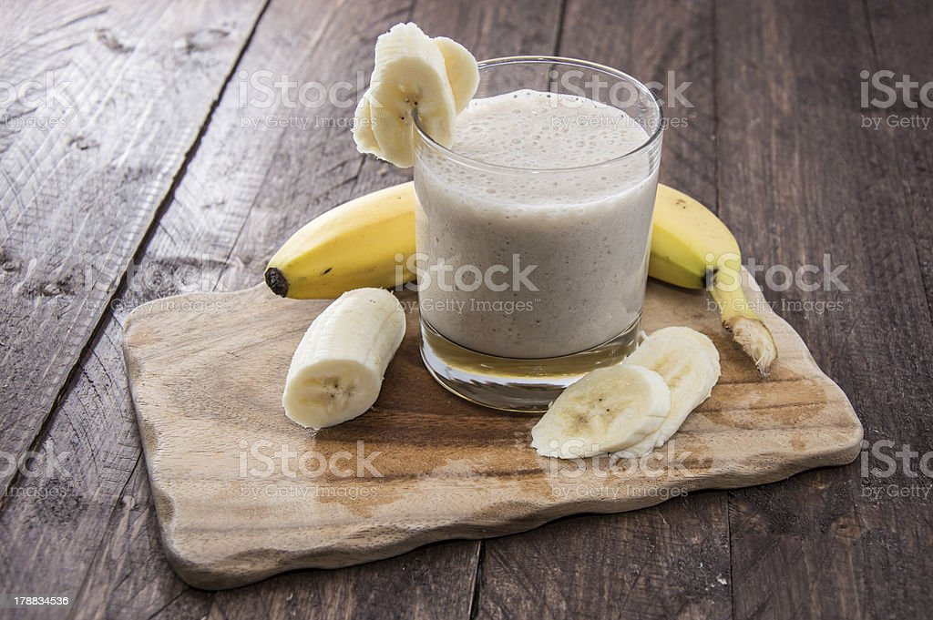 Fresh made milkshake using bananas stock photo
