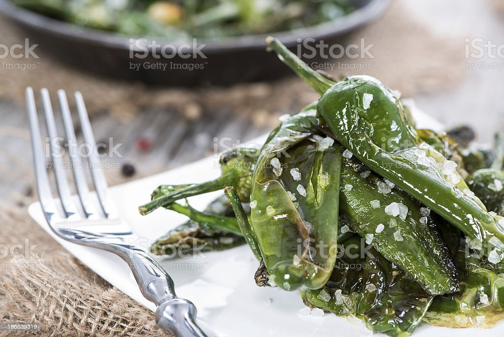 Fresh made Pimientos de Padron stock photo