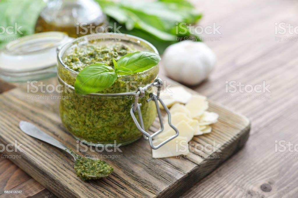 Fresh made Pesto Sauce royalty-free stock photo