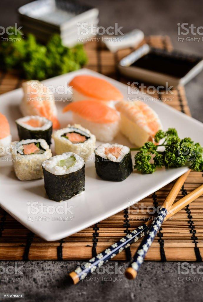 Fresh Maki and Nigiri Sushi rolls stock photo