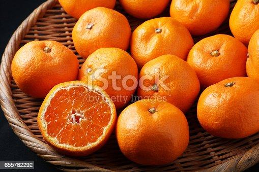 Fresh mandarin oranges texture.