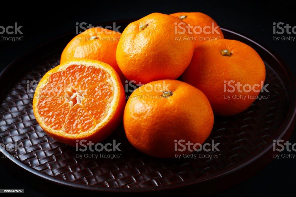 Fresh mandarin oranges texture. stock photo