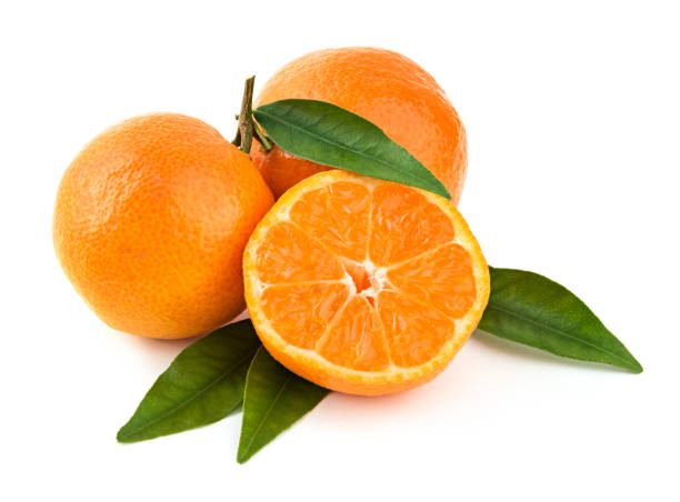 Fresh mandarins with leaves Fresh delicious whole and cut mandarins on branch with green leaves on white background tangerine stock pictures, royalty-free photos & images