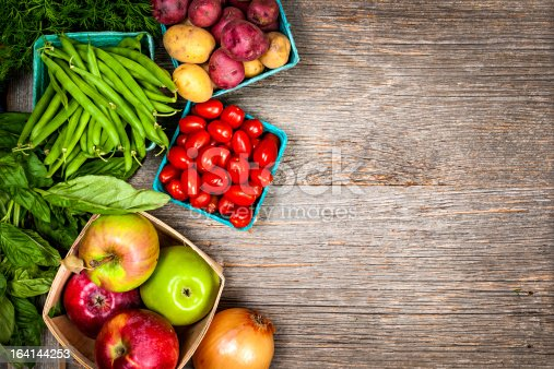Fresh farmers market fruit and vegetable from above with copy space