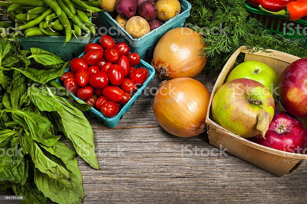 Fresh market fruits and vegetables Fresh farmers market fruit and vegetable on display Apple - Fruit Stock Photo