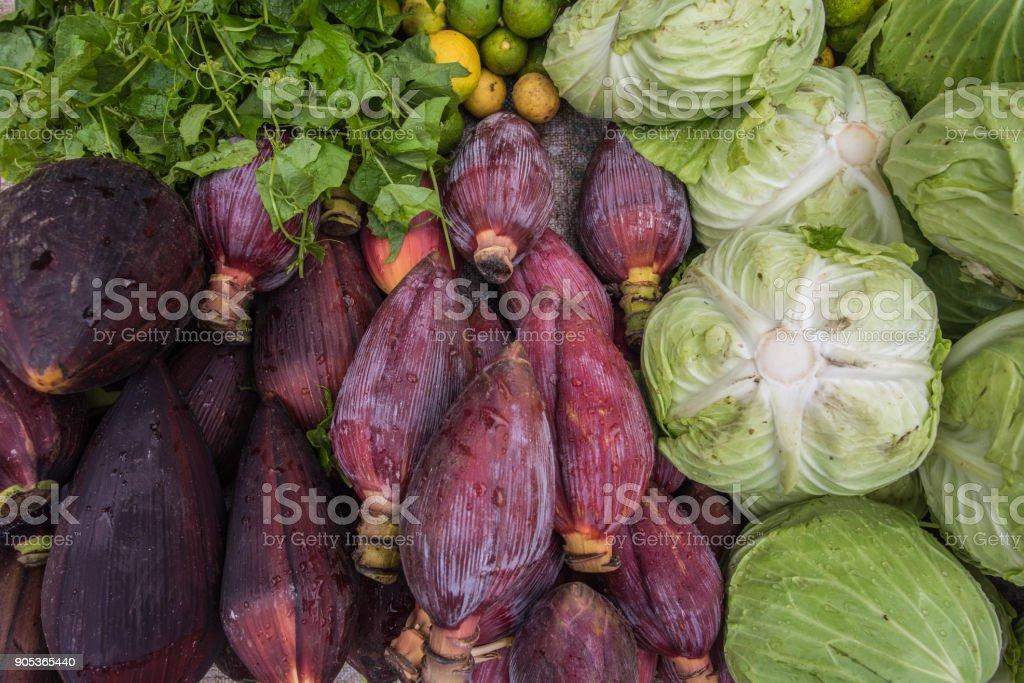 Fresh market in Laos stock photo