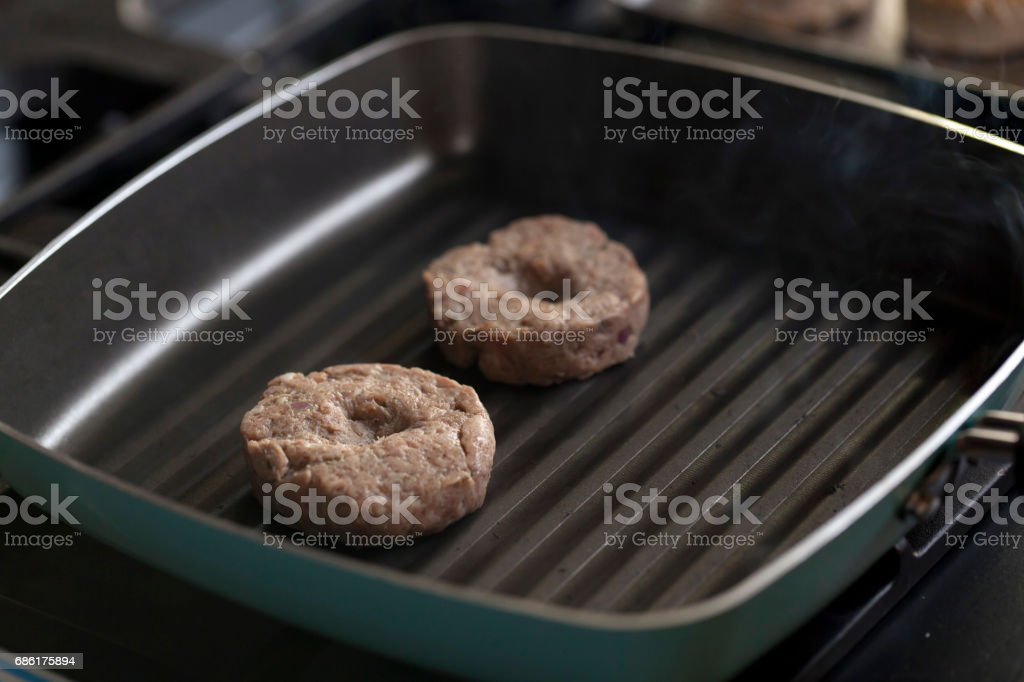 Fresh meat cutlets fried in a pan. stock photo
