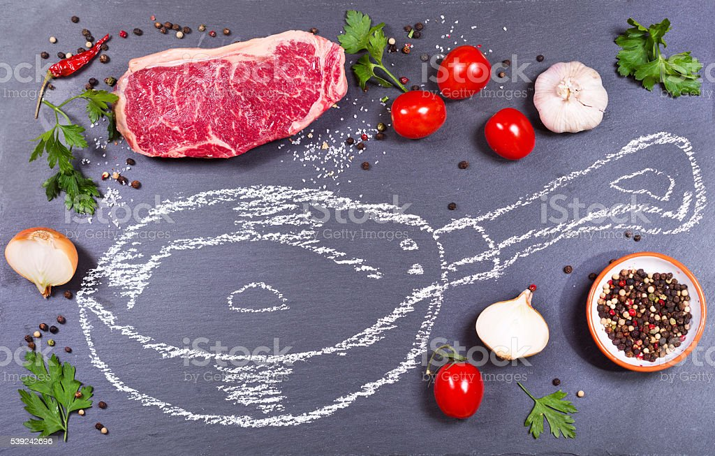 fresh meat with vegetables and painted pan royalty-free stock photo