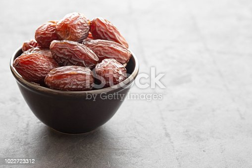 978314900 istock photo Fresh Medjool Dates in a bowl. Ramadan kareem. Black background. Copy space. 1022723312