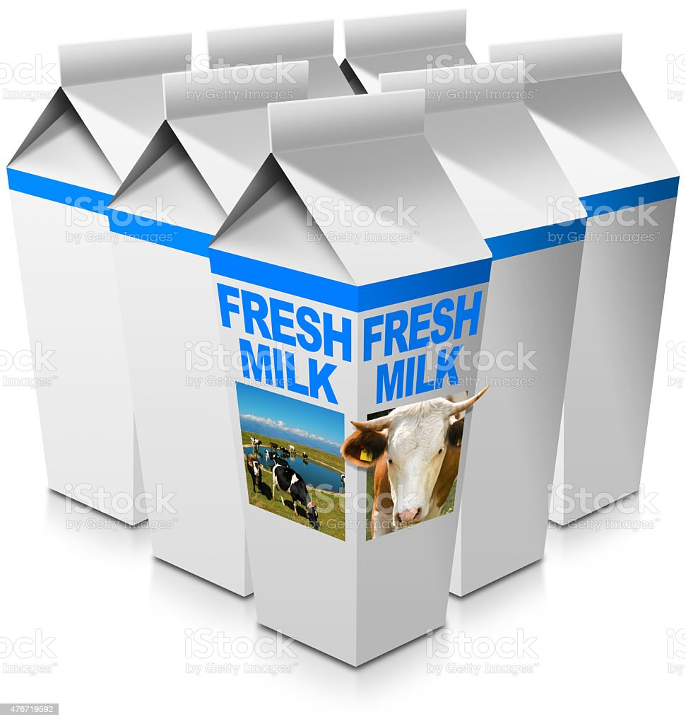 Fresh Milk - Beverage Cartons stock photo