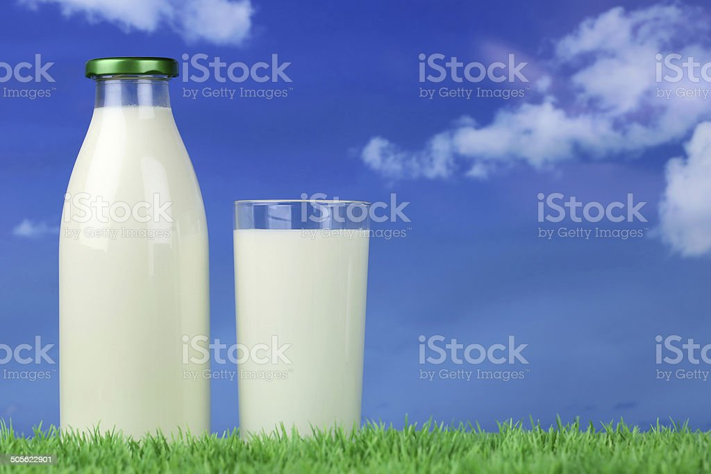 Fresh milk in a bottle and in a glass stock photo