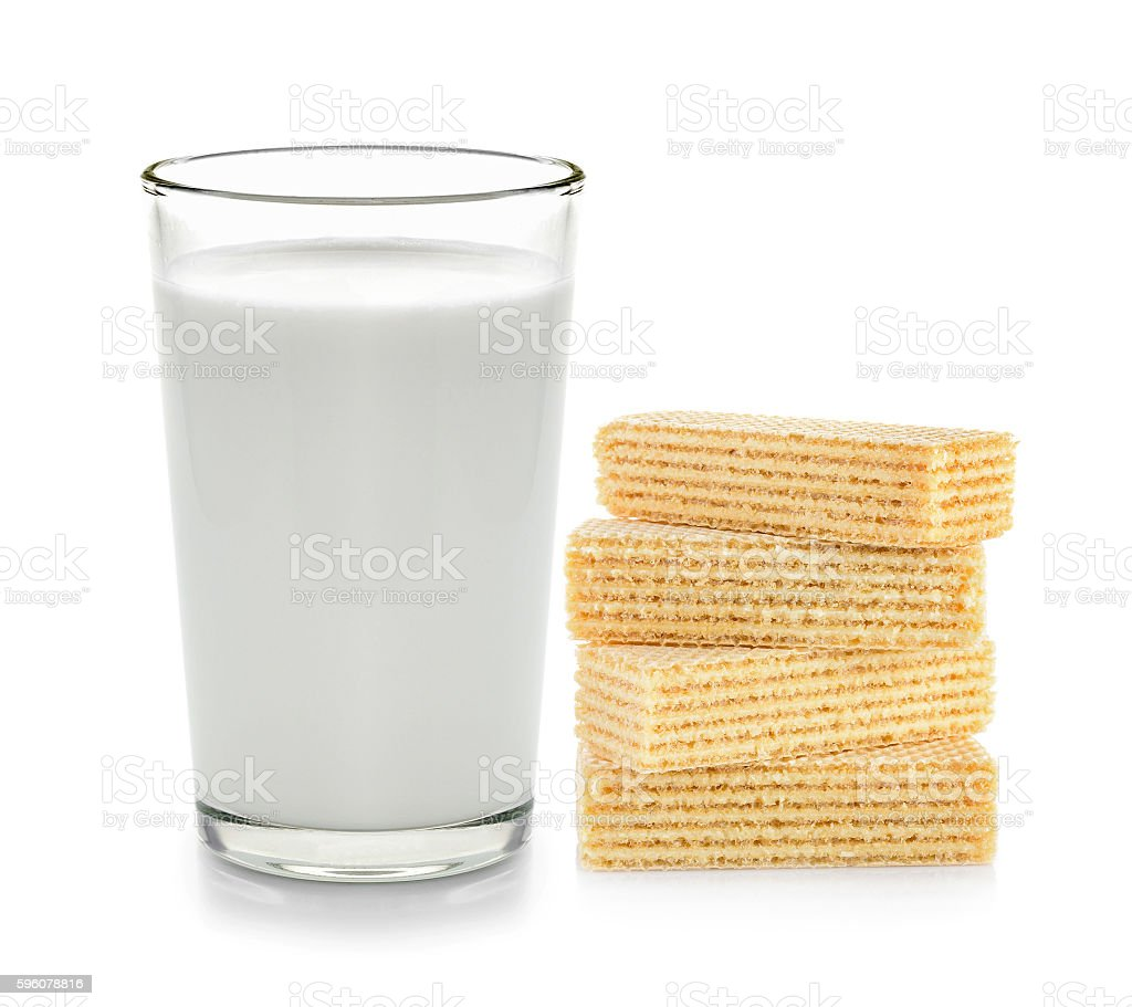 fresh milk in the glass and wafer dessert royalty-free stock photo