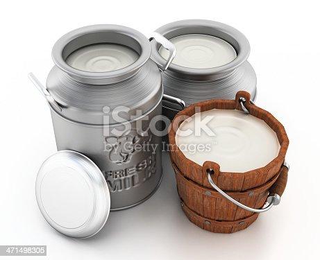 Metal milk churns with