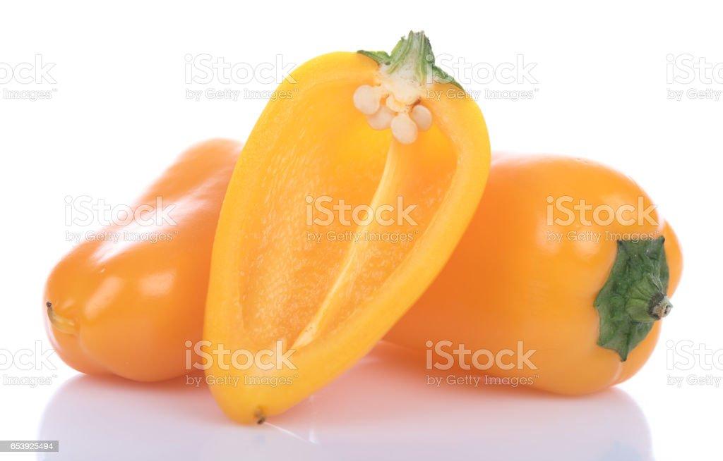 Fresh mini yellow peppers stock photo
