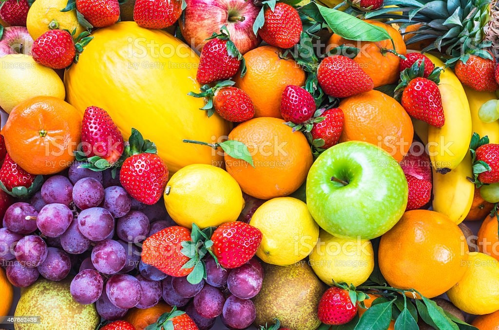 Fresh mixed fruits. stock photo