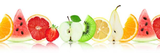 frische gemischte früchte. scheiben - melonenbirne stock-fotos und bilder