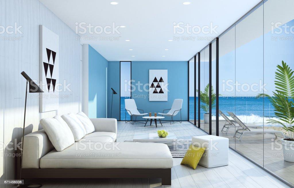 Fresh Modern Light Blue Living Room Interior With Ocean ...